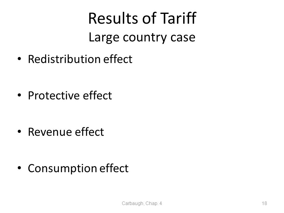 Results of Tariff Large country case