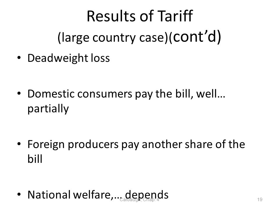 Results of Tariff (large country case)(cont'd)