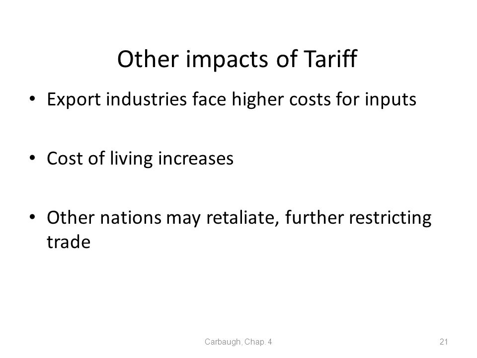 Other impacts of Tariff
