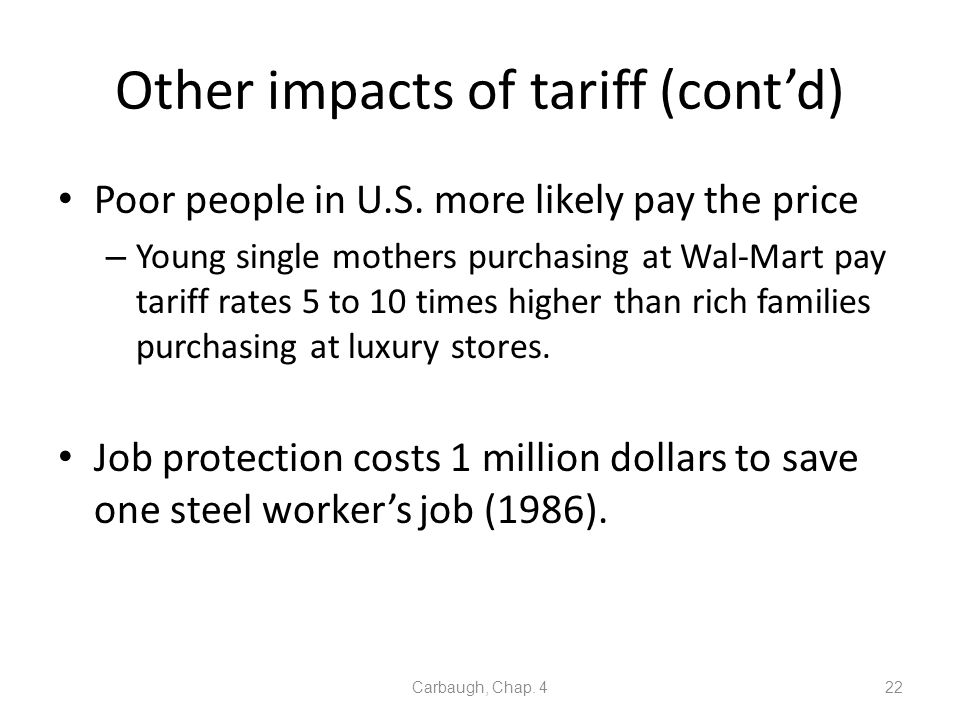 Other impacts of tariff (cont'd)