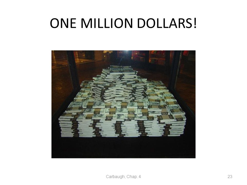 ONE MILLION DOLLARS! Carbaugh, Chap. 4