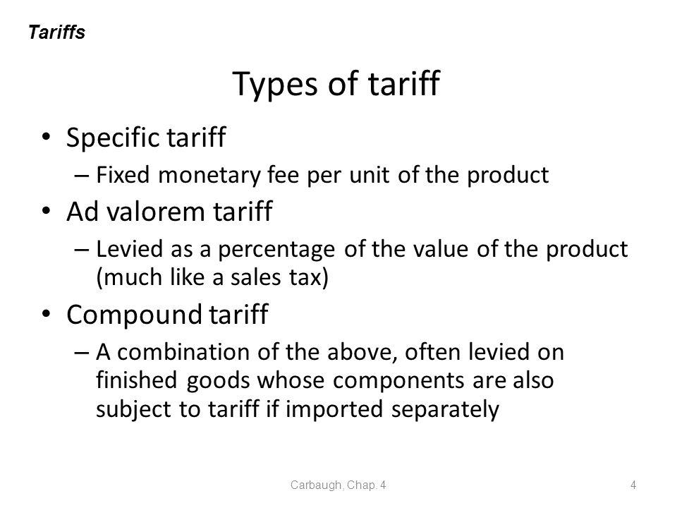 Types of tariff Specific tariff Ad valorem tariff Compound tariff
