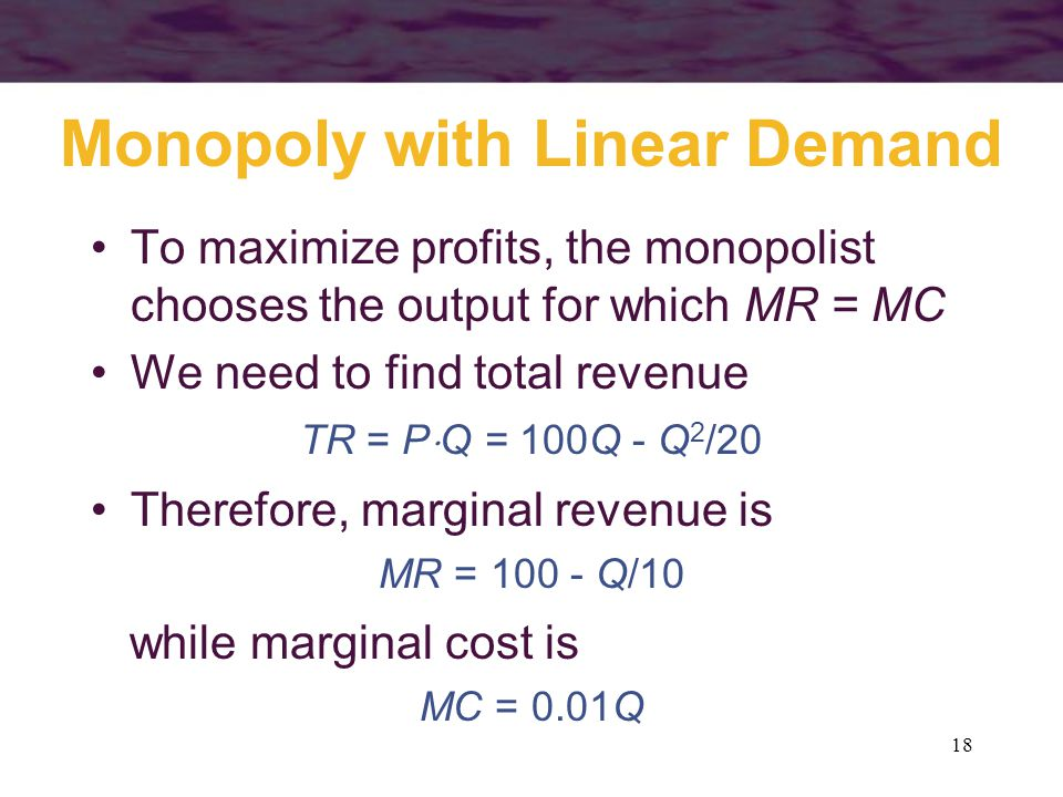 Monopoly with Linear Demand