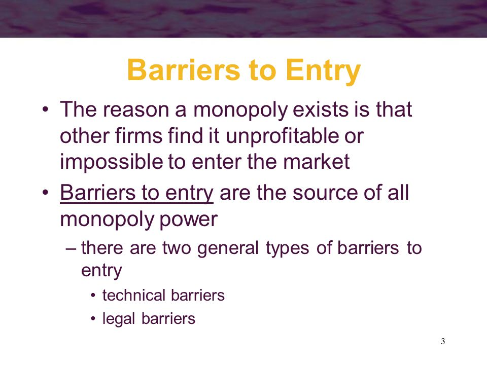 Barriers to Entry The reason a monopoly exists is that other firms find it unprofitable or impossible to enter the market.