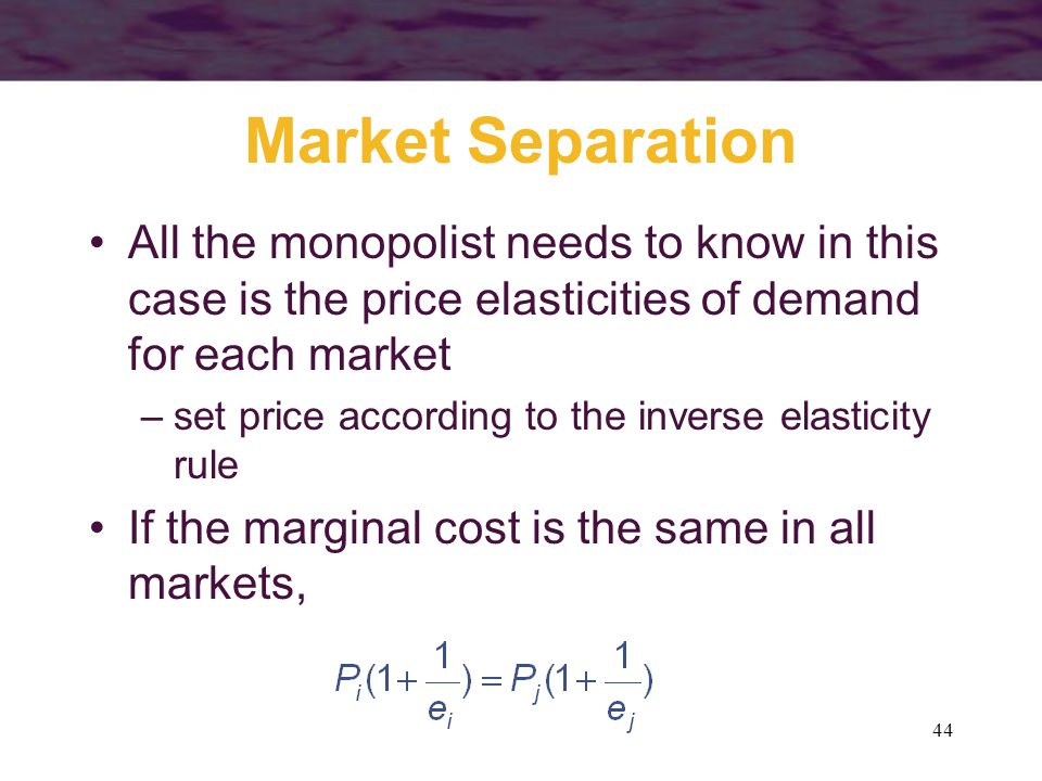 Market Separation All the monopolist needs to know in this case is the price elasticities of demand for each market.