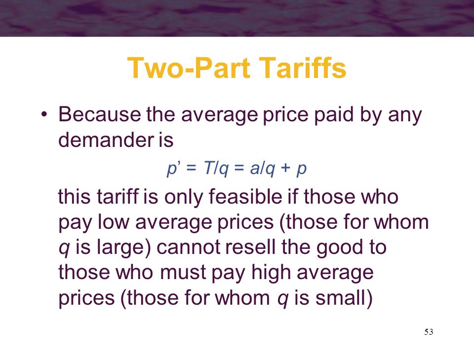 Two-Part Tariffs Because the average price paid by any demander is