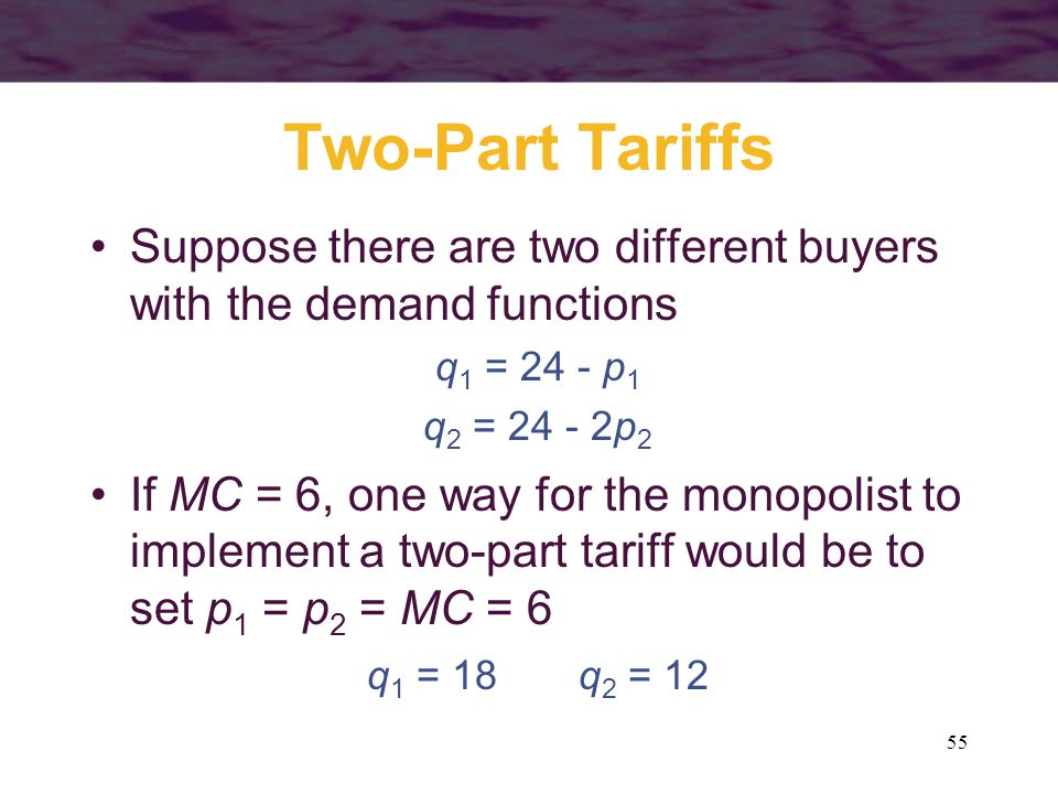 Two-Part Tariffs Suppose there are two different buyers with the demand functions. q1 = 24 - p1. q2 = 24 - 2p2.