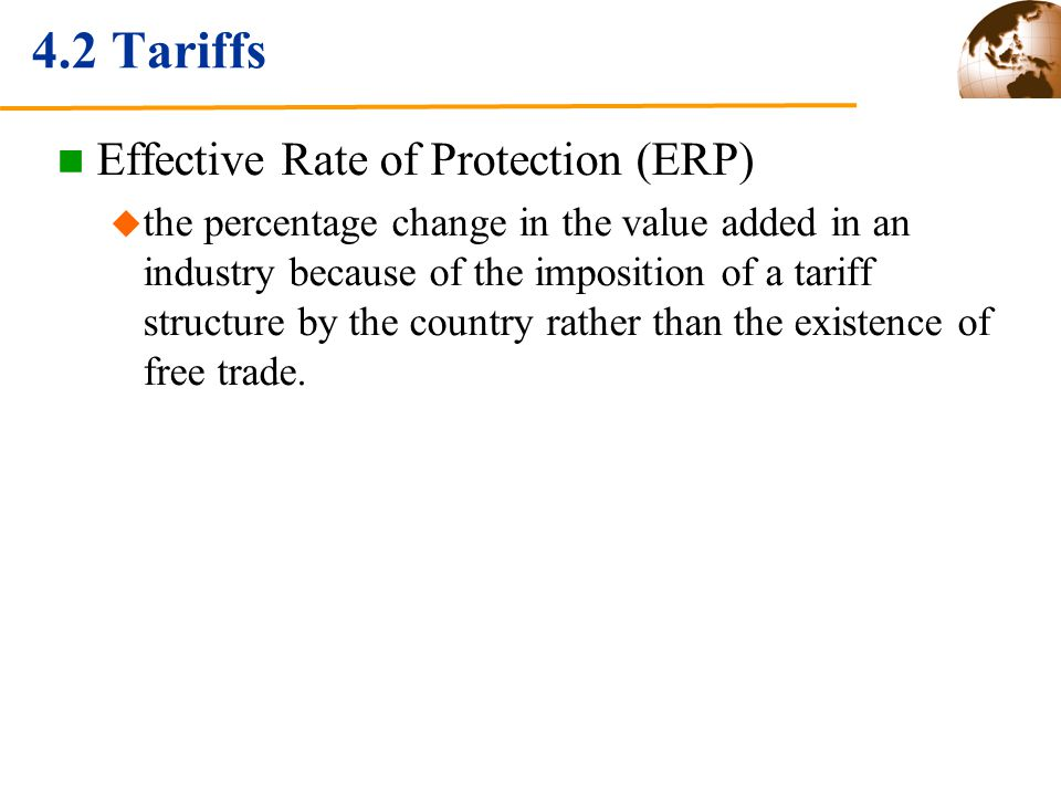 4.2 Tariffs Effective Rate of Protection (ERP)