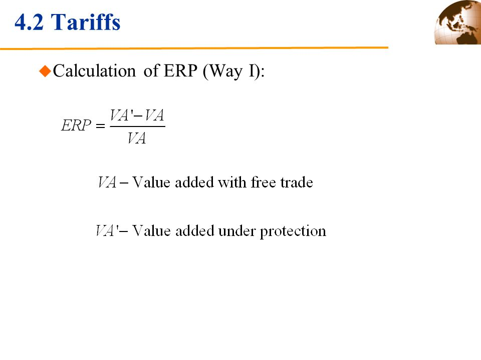 4.2 Tariffs Calculation of ERP (Way I):