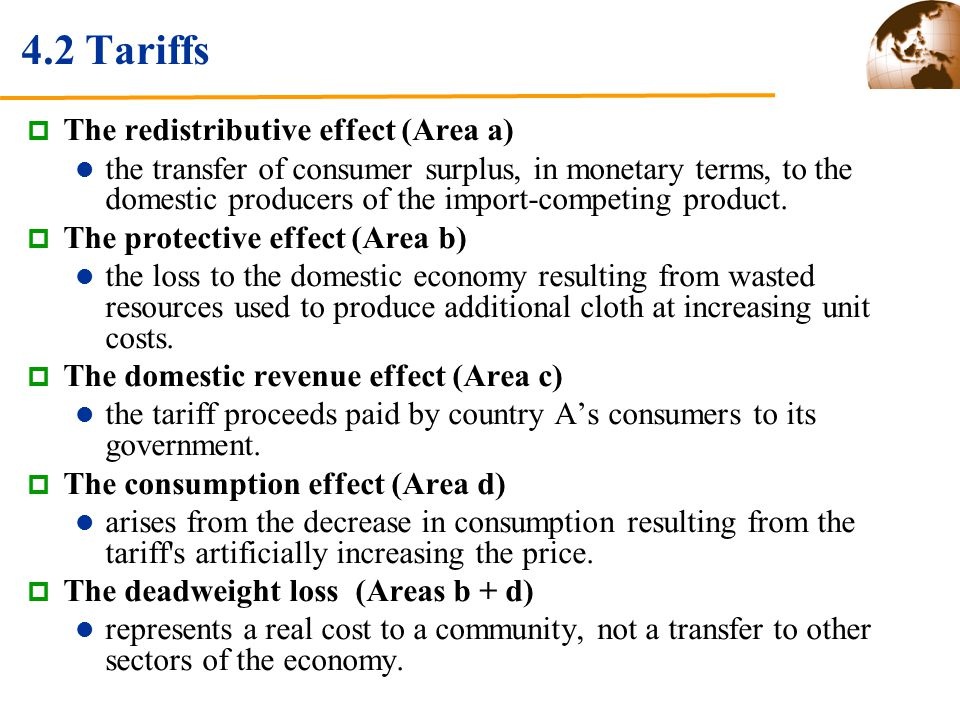 4.2 Tariffs The redistributive effect (Area a)