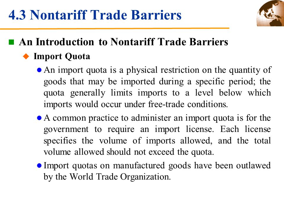 4.3 Nontariff Trade Barriers