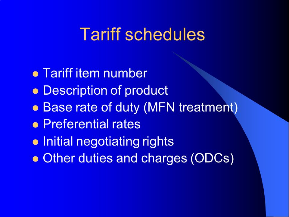 Tariff schedules Tariff item number Description of product