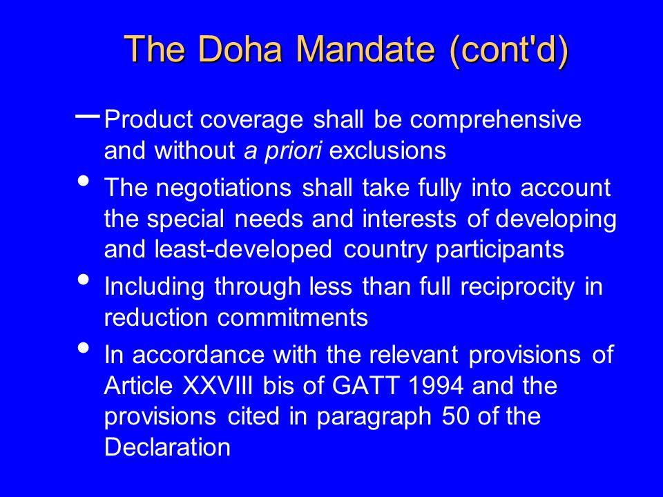 The Doha Mandate (cont d)