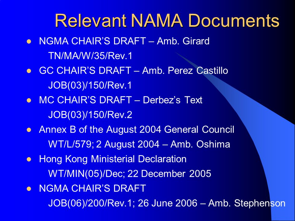 Relevant NAMA Documents