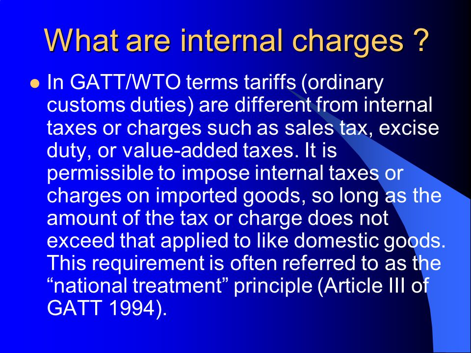 What are internal charges