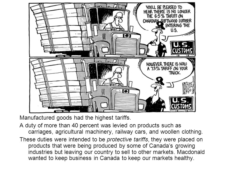Manufactured goods had the highest tariffs.