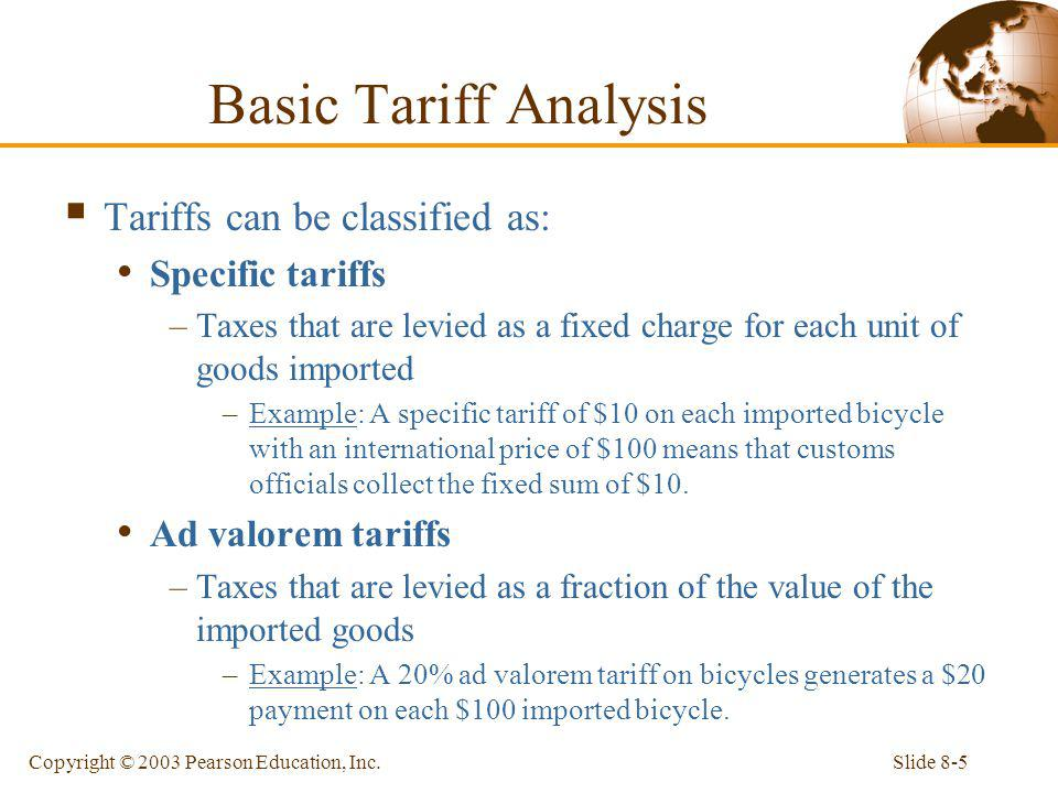 Basic Tariff Analysis Tariffs can be classified as: Specific tariffs