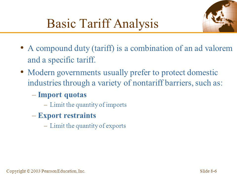 Basic Tariff Analysis A compound duty (tariff) is a combination of an ad valorem and a specific tariff.