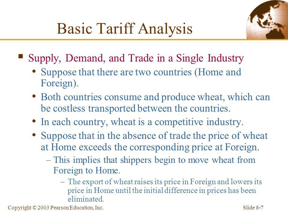 Basic Tariff Analysis Supply, Demand, and Trade in a Single Industry