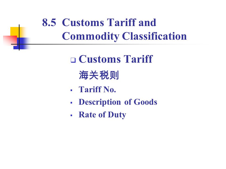 8.5 Customs Tariff and Commodity Classification