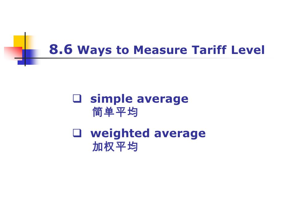 8.6 Ways to Measure Tariff Level