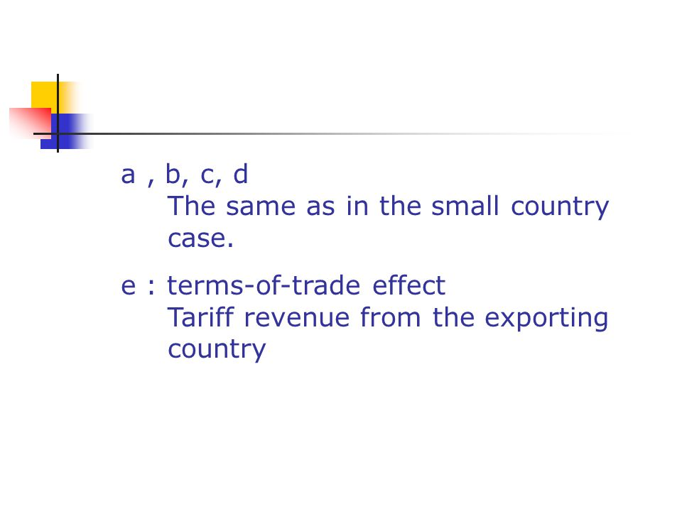 a , b, c, d The same as in the small country. case. e : terms-of-trade effect. Tariff revenue from the exporting.