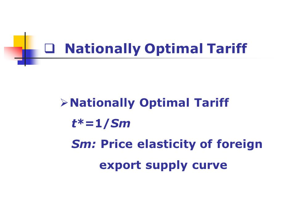 Nationally Optimal Tariff