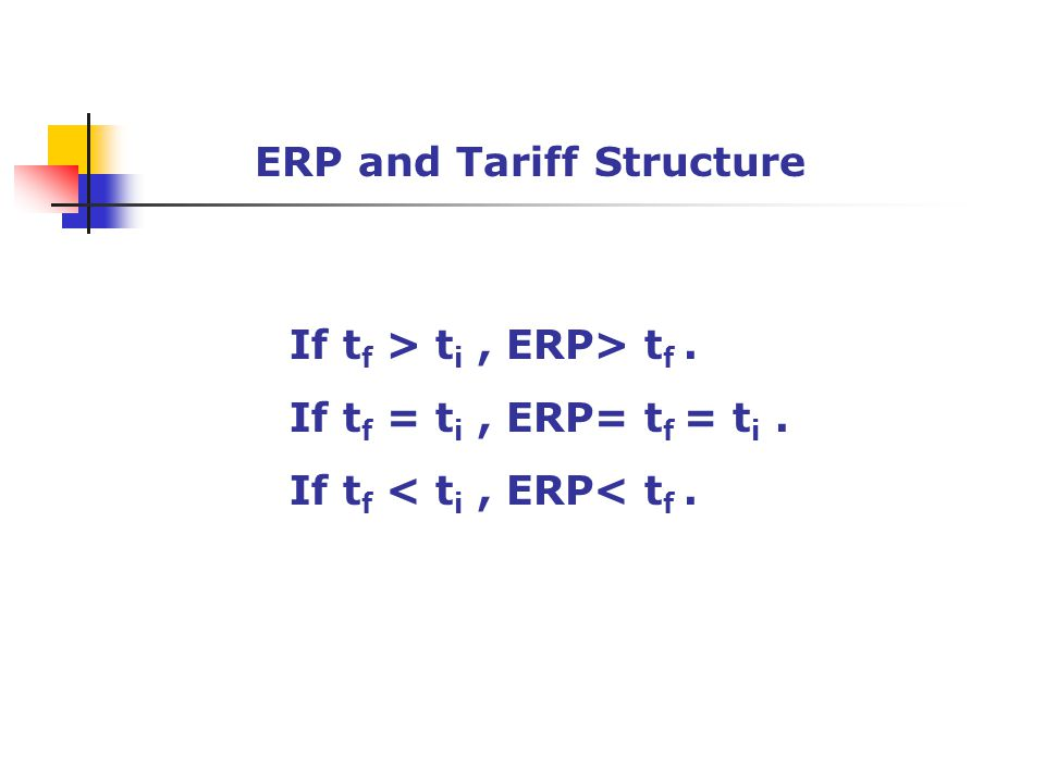ERP and Tariff Structure
