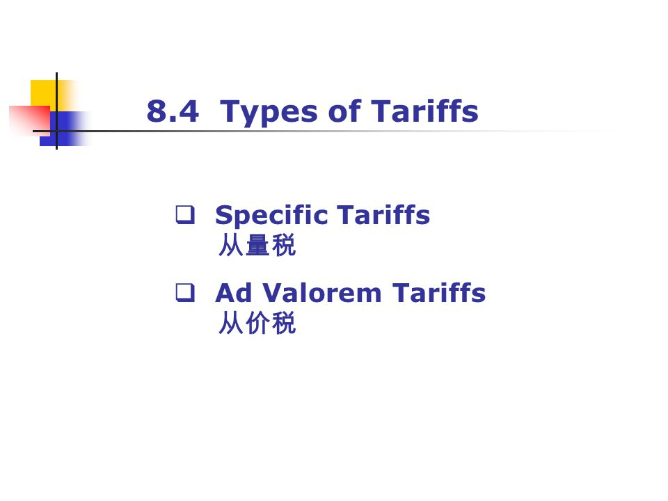 8.4 Types of Tariffs Specific Tariffs 从量税 Ad Valorem Tariffs 从价税