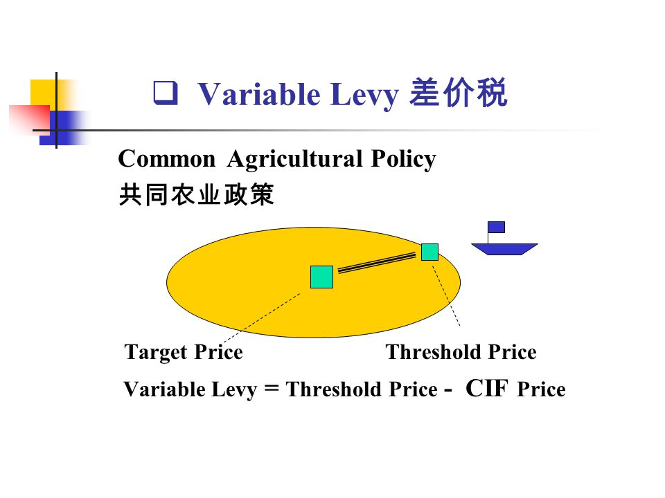 Variable Levy 差价税 Common Agricultural Policy 共同农业政策