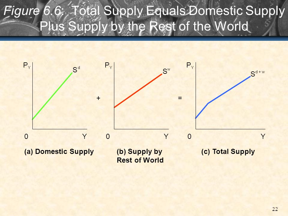 Figure 6.6: Total Supply Equals Domestic Supply Plus Supply by the Rest of the World