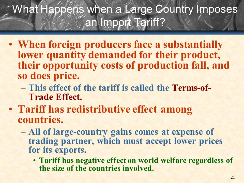 What Happens when a Large Country Imposes an Import Tariff