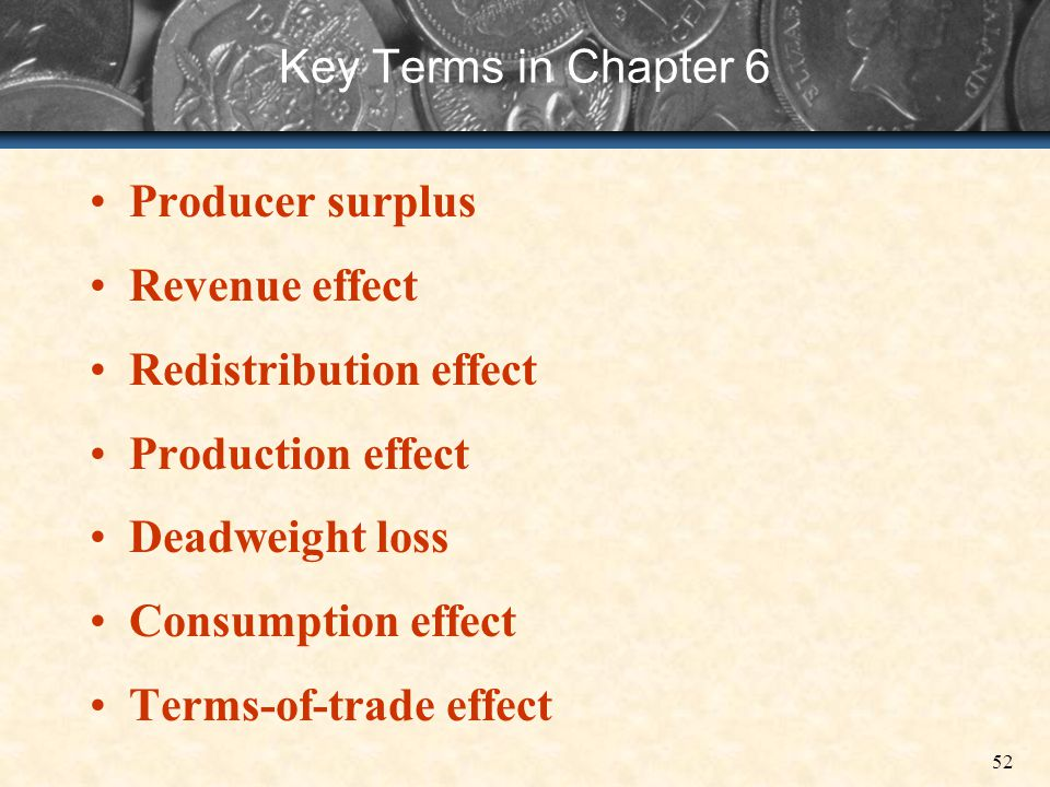 Key Terms in Chapter 6 Producer surplus. Revenue effect. Redistribution effect. Production effect.