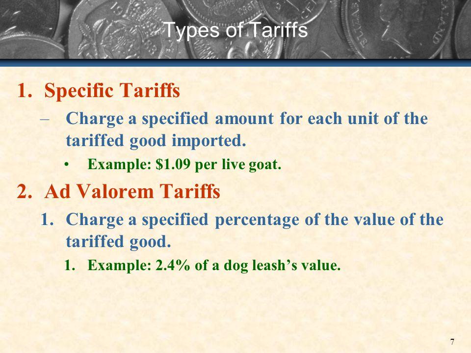 Types of Tariffs Specific Tariffs Ad Valorem Tariffs