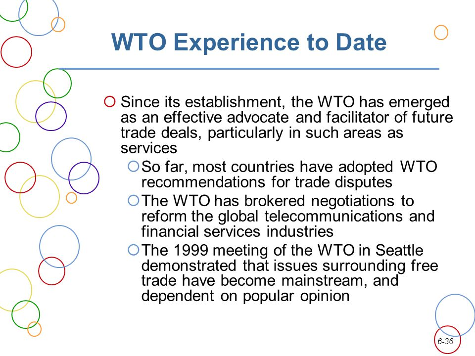 WTO Experience to Date