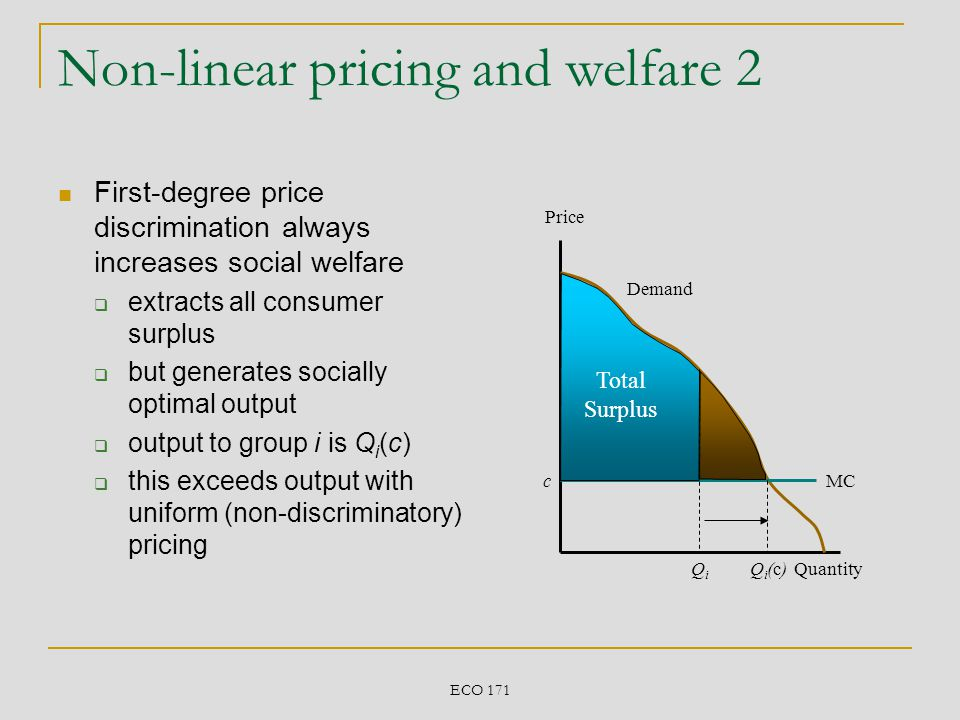 Non-linear pricing and welfare 2