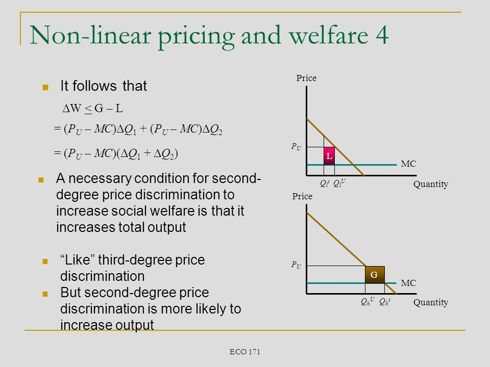 Non-linear pricing and welfare 4