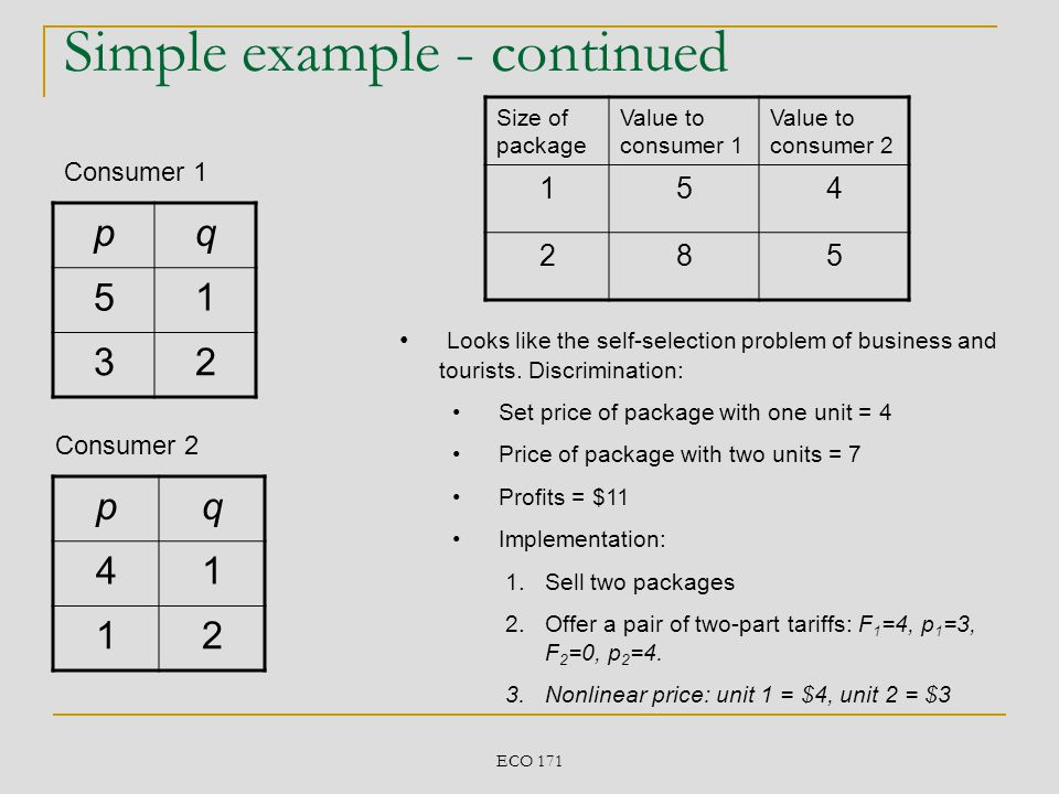 Simple example - continued