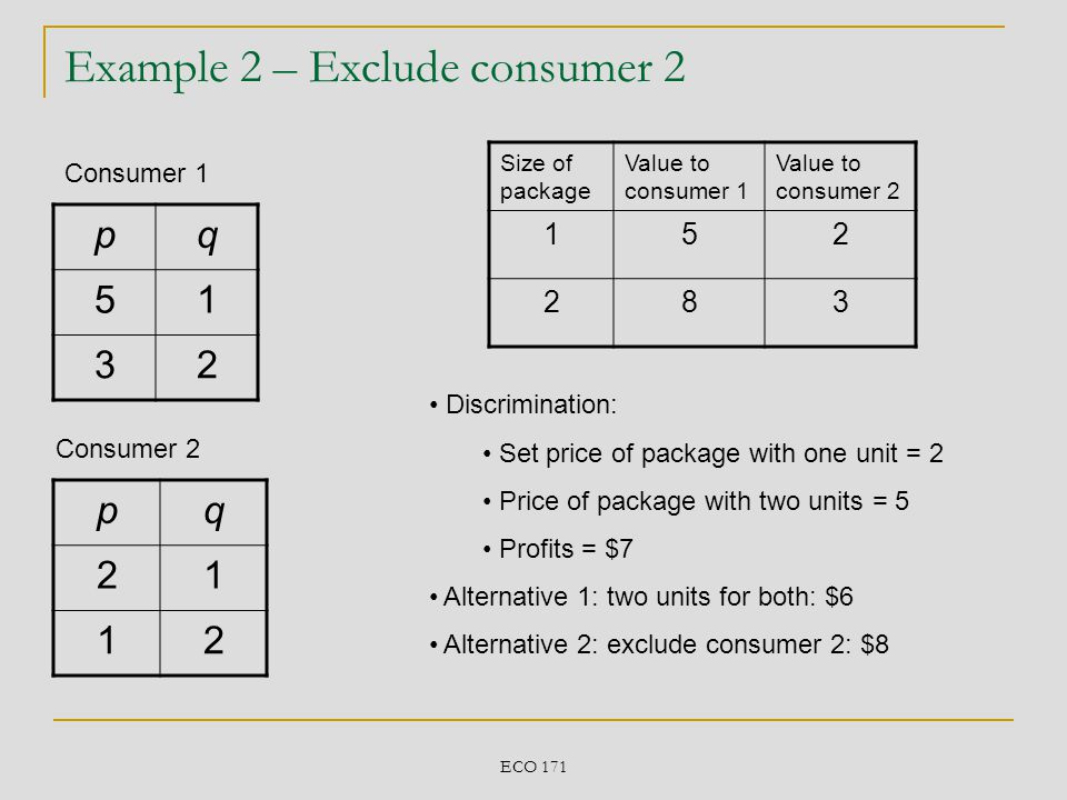 Example 2 – Exclude consumer 2