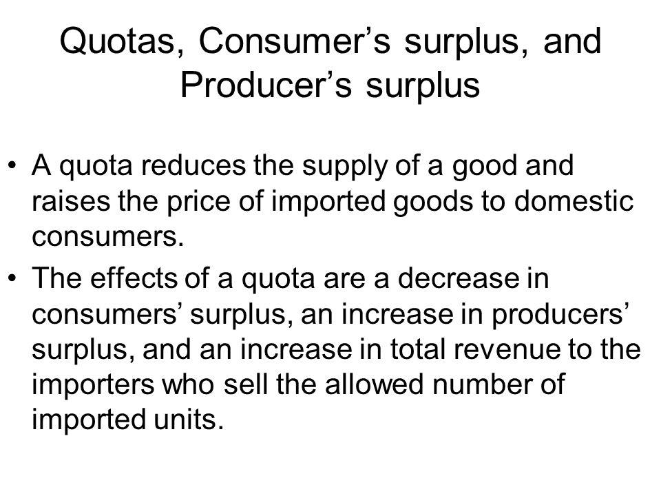 Quotas, Consumer's surplus, and Producer's surplus