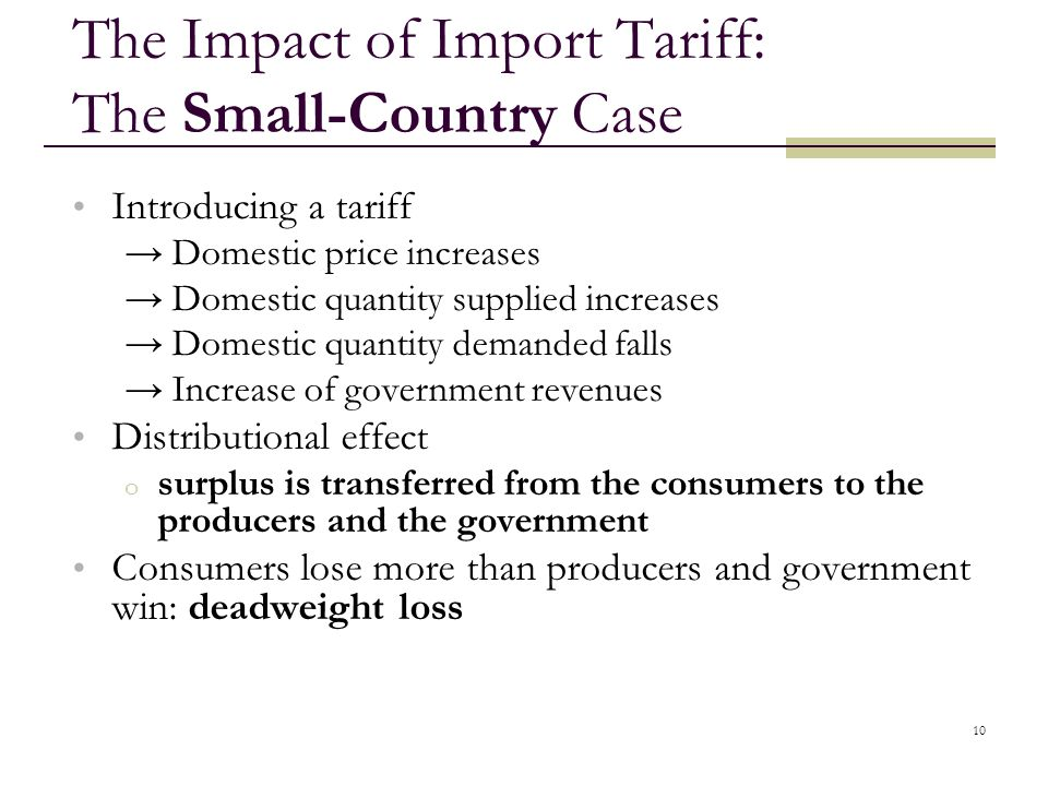 The Impact of Import Tariff: The Small-Country Case