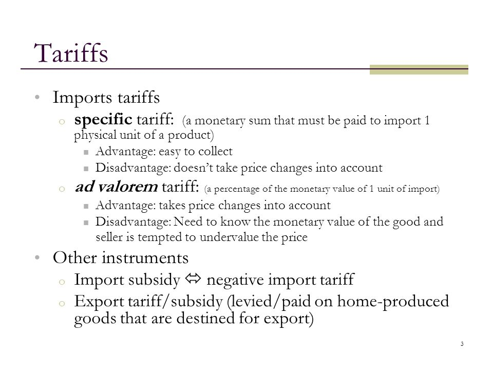 Tariffs Imports tariffs Other instruments