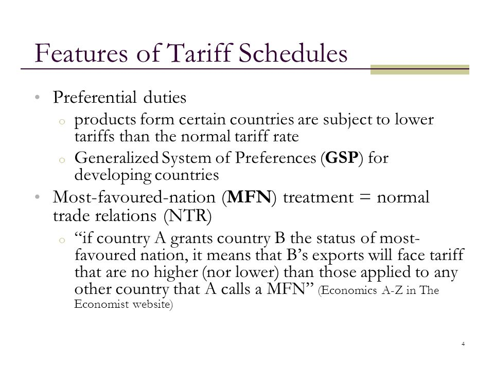 Features of Tariff Schedules
