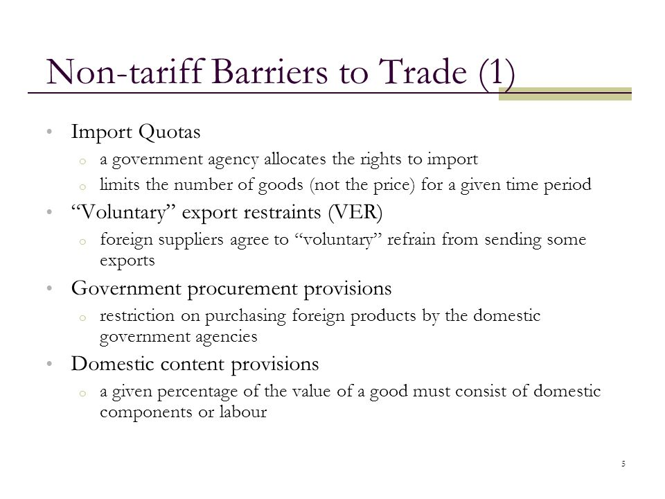 Non-tariff Barriers to Trade (1)