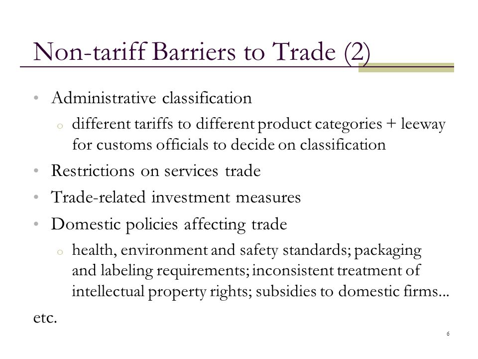 Non-tariff Barriers to Trade (2)