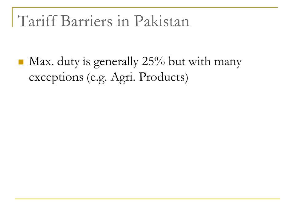 Tariff Barriers in Pakistan