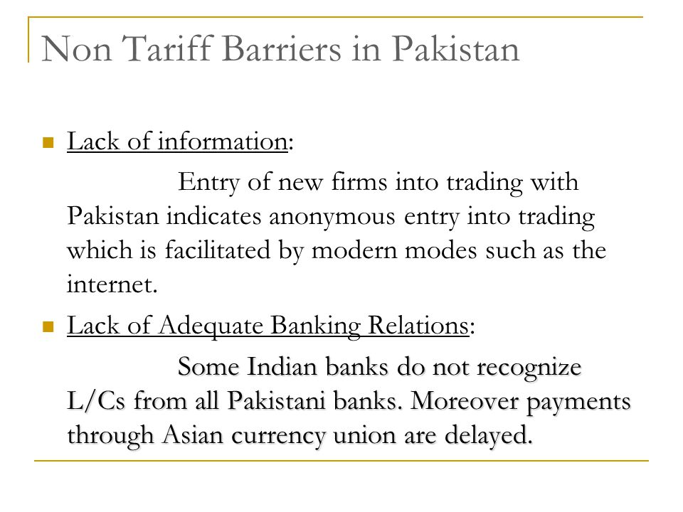 Non Tariff Barriers in Pakistan