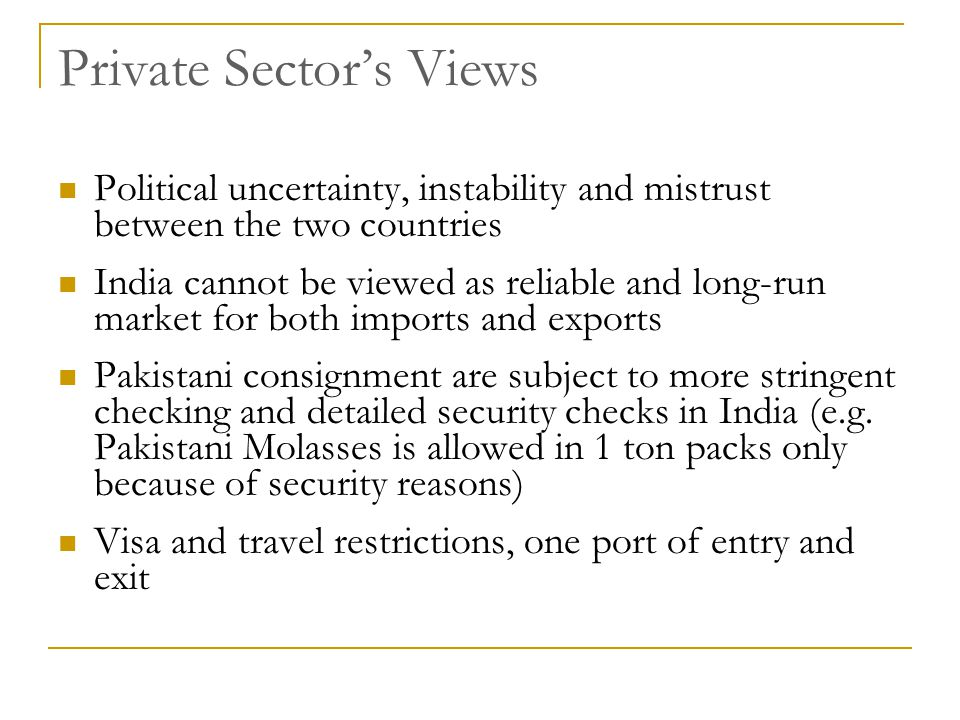 Private Sector's Views