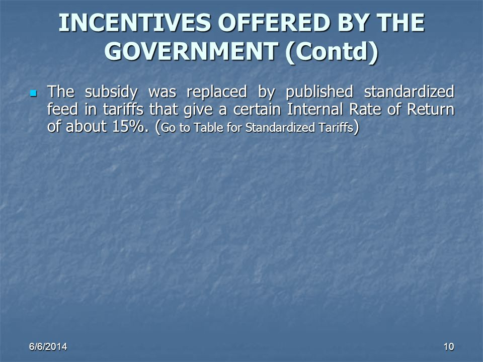 INCENTIVES OFFERED BY THE GOVERNMENT (Contd)