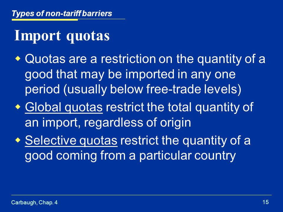 Types of non-tariff barriers